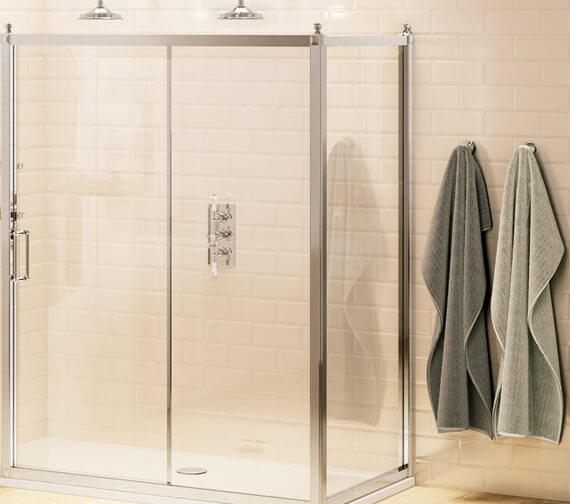 Burlington Soft Close Sliding Shower Door With Side Panel