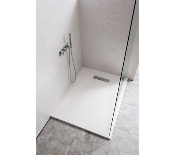 Additional image of Crosswater Simpsons Rectangular White Tray With Linear Waste