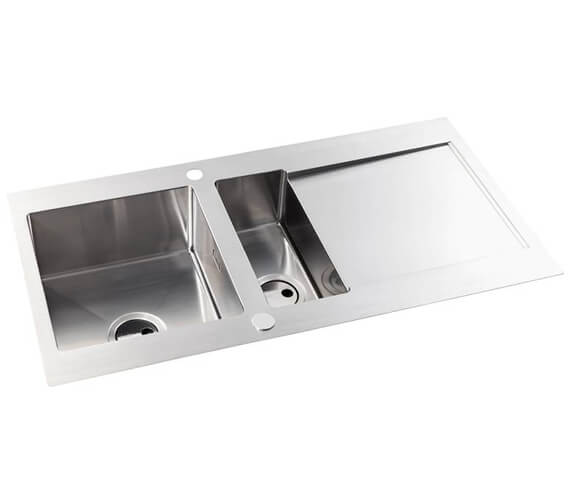 Abode Verve Stainless Steel 1.5 Reversible Kitchen Sink Bowl And Drainer