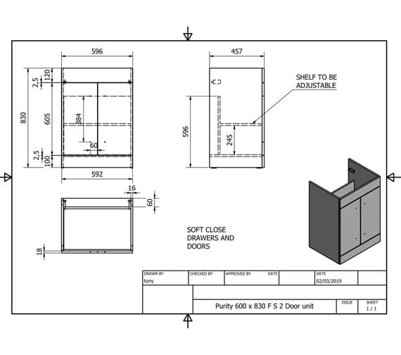Technical drawing QS-V99322 / FUR001PU