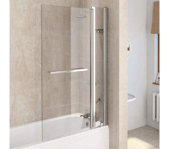 Aqualux Aqua 6 Square Fixed Bath Screen Panel And Towel Rail