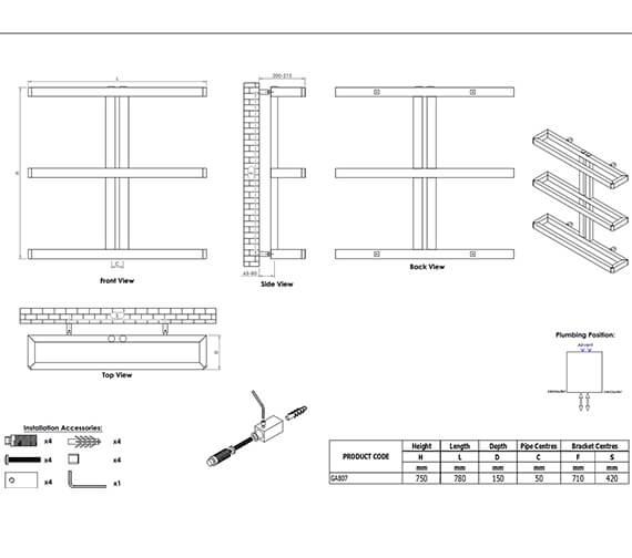 Technical drawing QS-V96065 / GA807S