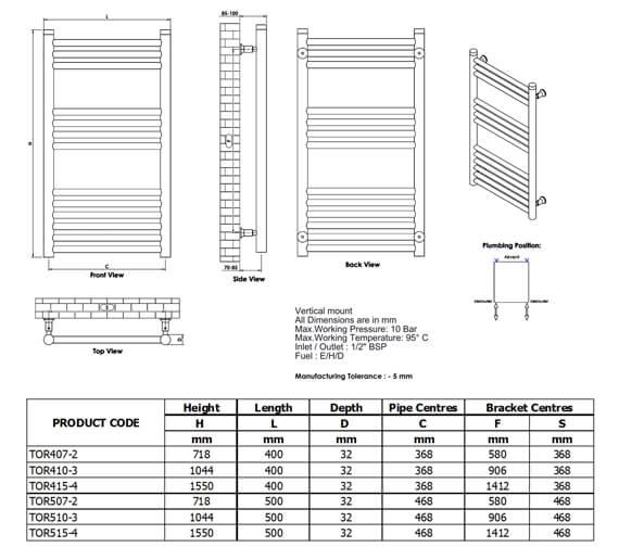 Technical drawing QS-V96281 / TOR407-2S