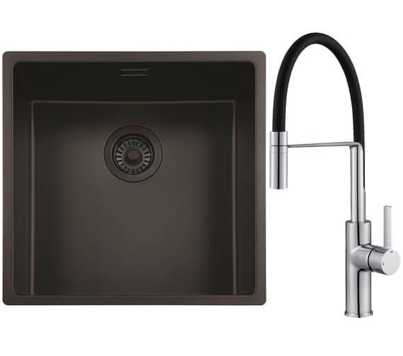 Reginox New York Jet Black Single Bowl Sink With Aurora Chrome And Black Mixer Tap