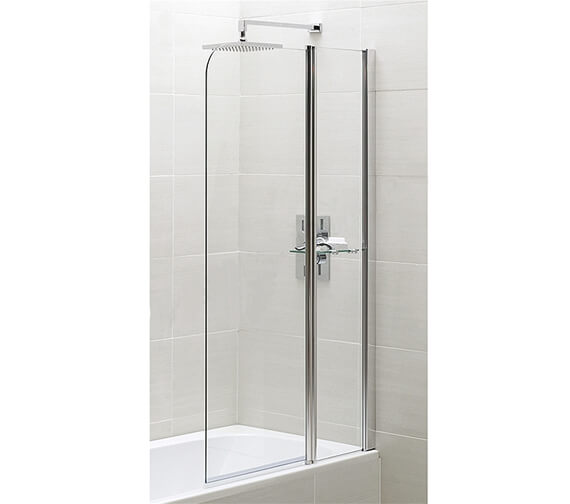 Essential Spring 900 x 1500mm Half Radius Bath Screen With Fixed Panel