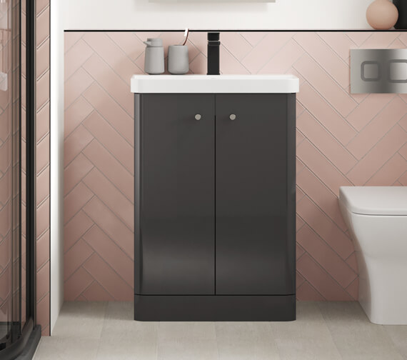 Nuie Core 864mm High Floor Standing Two Doors Vanity Unit And Basin