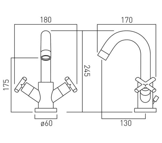 Alternate image of Vado Elements Mono Twin Lever Deck Mounted Basin Mixer Tap