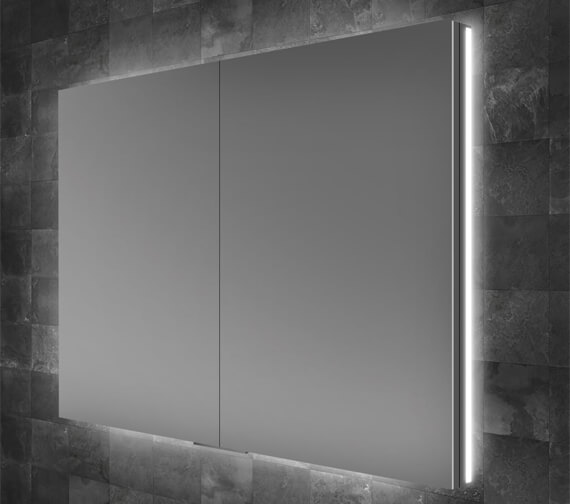 HIB Atrium 60 Double Door Semi-Recessed LED Illuminated Mirror Cabinet