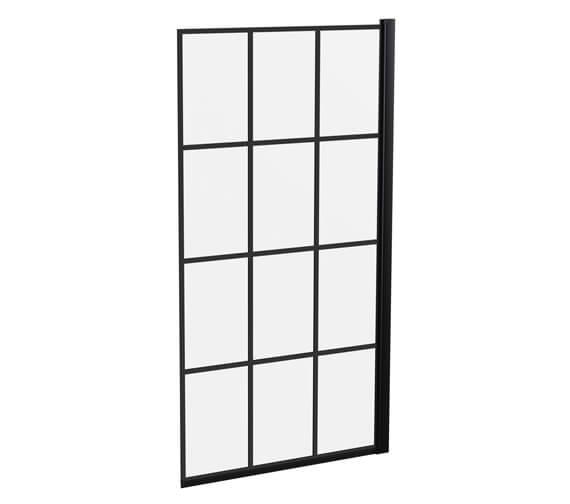 Hudson Reed 790mm x 1435mm Square Black Framed Bath Screen