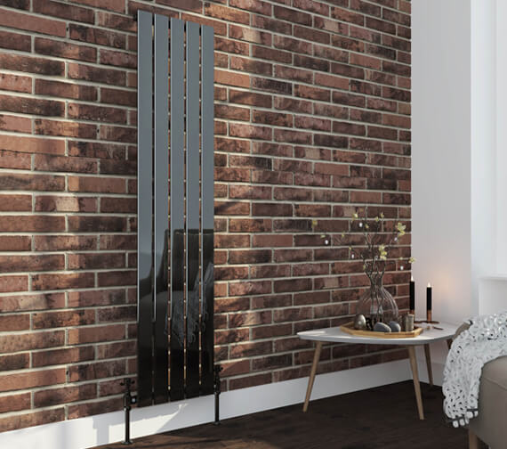 Alternate image of Aqua Verso 1800mm High Black Nickel Steel Designer Radiator