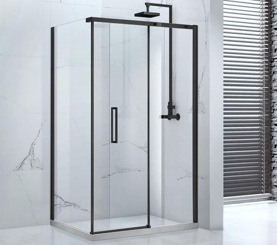 Aquaglass Onyx 8mm Black Framed Sliding Door