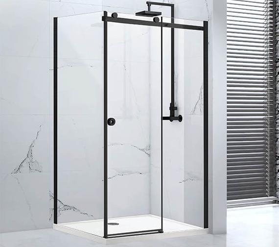 Aquaglass Sphere 8mm Black Framed Sliding Door