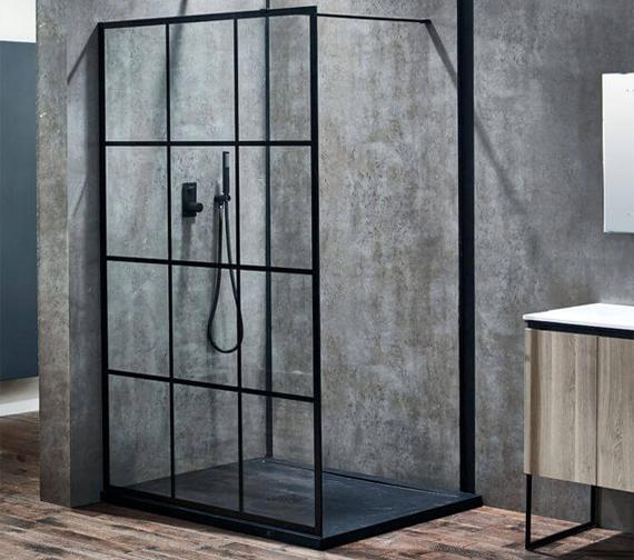 Aquaglass Plus Velar 8mm Black Crittall Framed Walk-In Front Panel