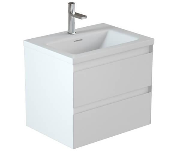 Saneux Uni 600mm Matt White 2 Drawer Unit With 1 Taphole Washbasin