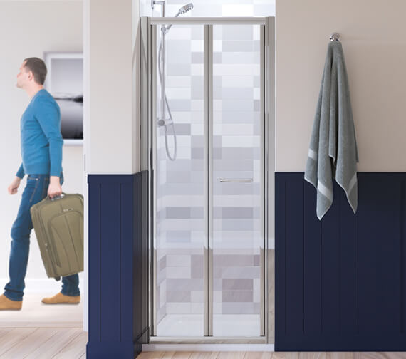 Lakes Classic Silver Semi Frame-less Bi-Fold Door 700 x 1850mm
