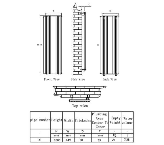 Technical drawing QS-V81086 / RND-RC8W