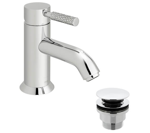 Vado Omika Single Lever Mono Basin Mixer Tap With Patterned Handle And Universal Waste