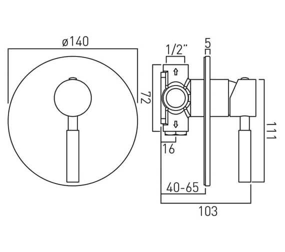 Technical drawing QS-V58643 / ORI-145A-C/P