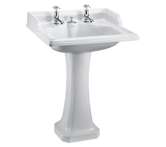 Burlington Classic 650mm Rectangular Invisible Overflow Basin With Pedestal