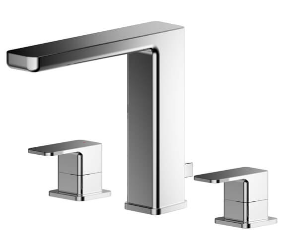 Nuie Windon Deck Mounted 3 Hole Basin Mixer Tap Chrome With Pop-Up Waste