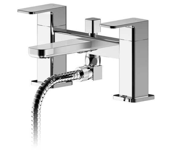 Nuie Windon Deck Mounted Bath Shower Mixer Tap Chrome With Kit