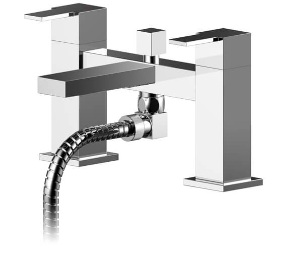 Nuie Sanford Dual Lever Deck Mounted Bath Shower Mixer Tap With Kit