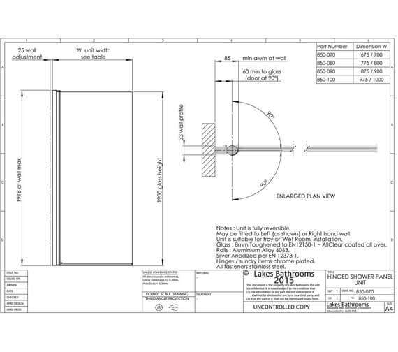 Alternate image of Lakes Coastline Alassio 700mm Hinged Walk-In Shower Screen