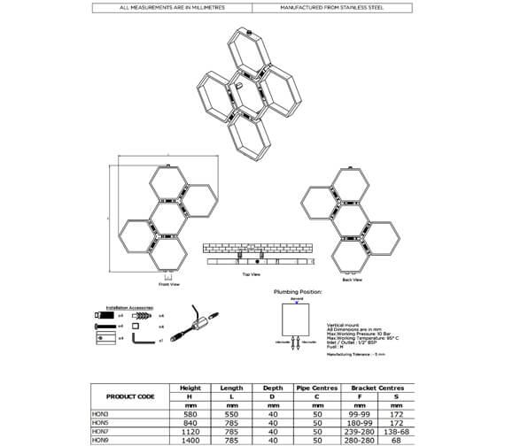Technical drawing QS-V96068 / HON3S