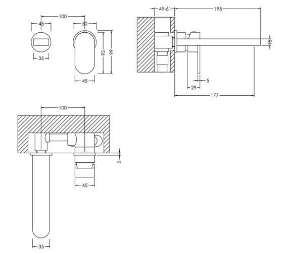 Technical drawing QS-V98607 / BIN381