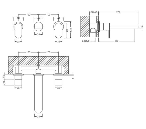Additional image of Nuie Binsey Wall Mounted Basin Mixer Tap
