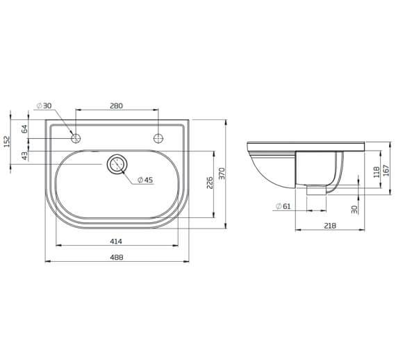 Additional image of Tavistock Lansdown 490mm Slim Depth Semi Countertop Basin