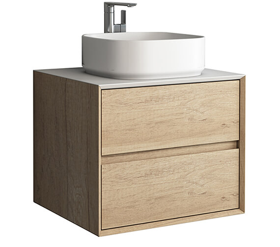 IMEX Grace Two Drawer Wall Mounted Cabinet In Natural Oak