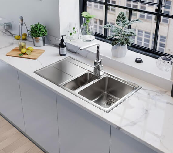 Rangemaster Arlington Stainless Steel Inset 985 x 508mm Polished 1.5 Bowl Kitchen Sink