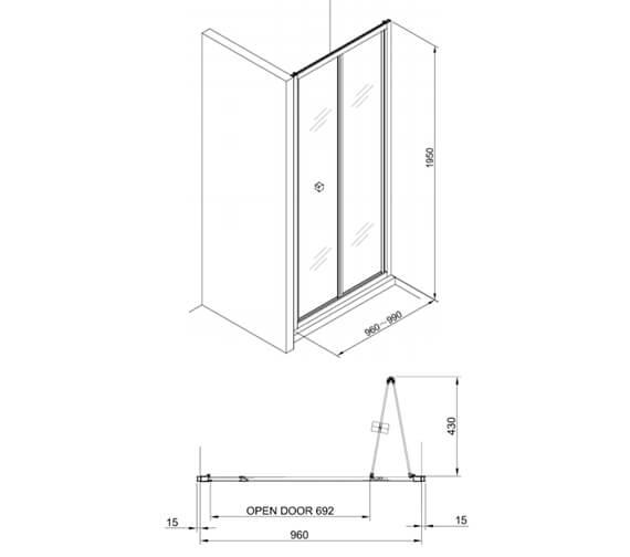 Alternate image of Crosswater Clear 6 1950mm Height Bi-fold Door