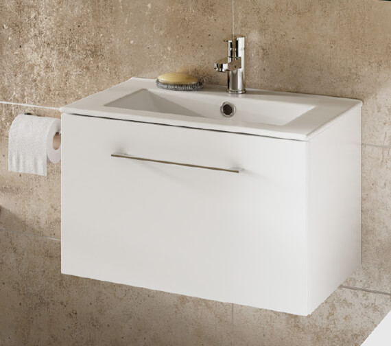 Lecico Carlton 600mm Wall Hung 1 Drawer Vanity Unit With 1 Taphole Basin
