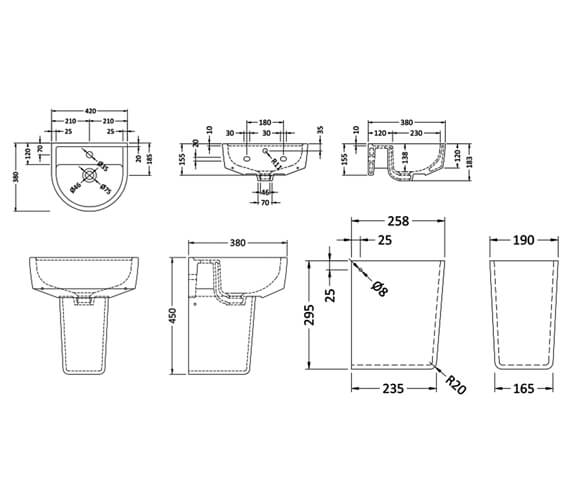 Alternate image of Nuie Provost 1 Tap Hole Wall Mounted Basin And Basin