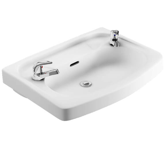 Lecico Atlas 590mm Wide 2 Tap Hole Wal Hung Basin
