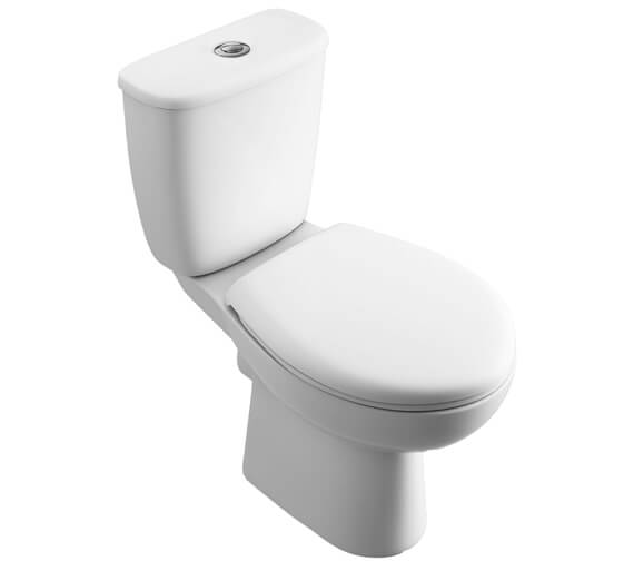 Lecico Atlas Smooth Close Coupled Pan With Push Button Cistern And Seat