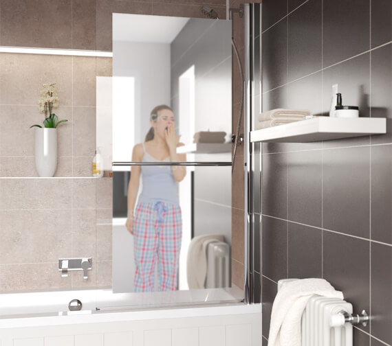 Additional image of Lakes Square 8mm Mirror Glass 800 x 1500mm Bath Screen