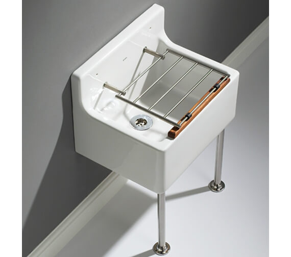 Lecico Atlas Low Or High Back Cleaner Sink With Legs And Bearers And Waste