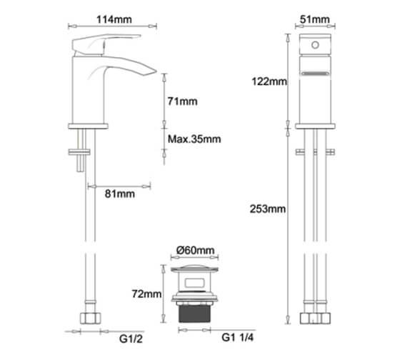 Technical drawing QS-V100508 / MBFW114P+