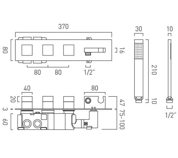 Technical drawing QS-V105716 / TAB-148/2WO-NOT-CP