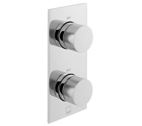 Vado Knurled 2 Outlet 2 Handle Vertical Chrome Thermostatic Valve with All-Flow Function