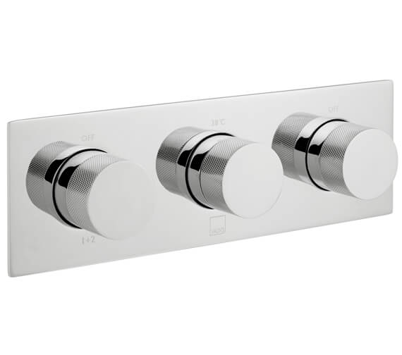 Vado Horizontal Concealed 3 Outlet 3 Handle Thermostatic Valve with Knurled Handles - Chrome