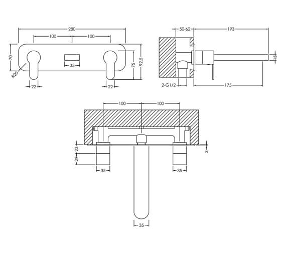 Additional image of Nuie Arvan 3 Hole Wall Mounted Basin Mixer Tap