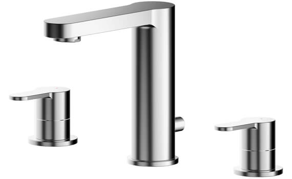 Nuie Arvan Deck Mounted 3 Hole Basin Mixer Tap With Pop Up Waste