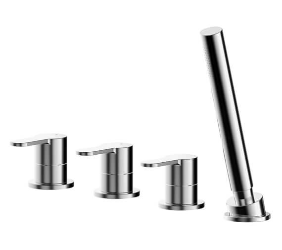 Nuie Arvan Deck Mounted 4 Hole Bath Shower Mixer Tap Chrome