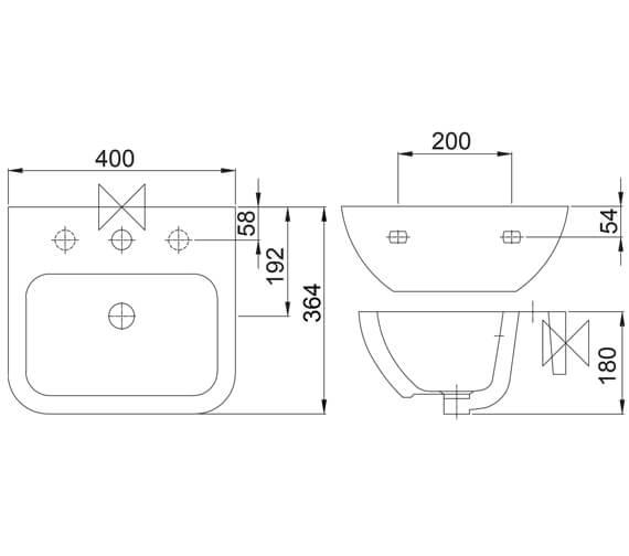 Technical drawing QS-V104525 / PORT40BA1FN