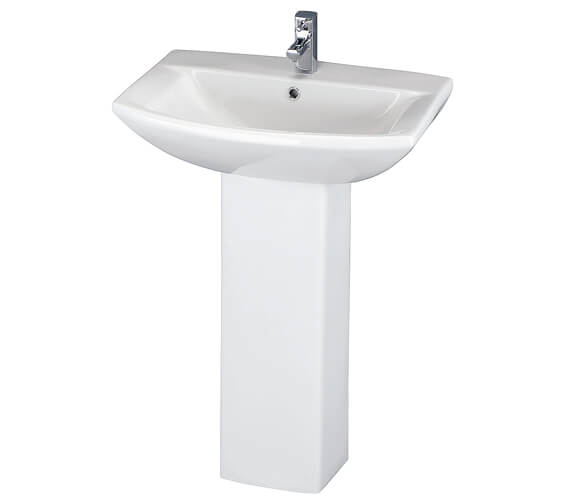 Nuie Asselby 600mm 1 Tap Hole Basin And Full Pedestal