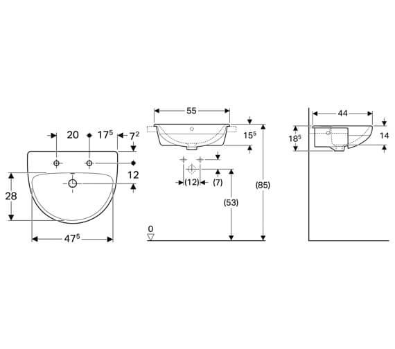 Additional image of Geberit Selnova 550 x 440mm Semi Recessed Basin